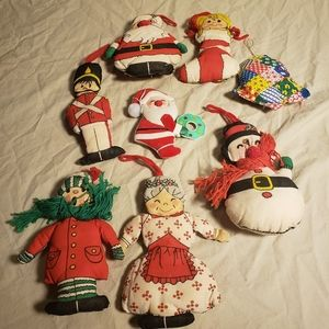 Vintage handmade cloth christmas ornaments